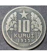 Türkei 10 Kurus, 1935 ~ Selten~60,000 Minted~1st Jahr Ever ~ Schlüssel Datum - $30.86