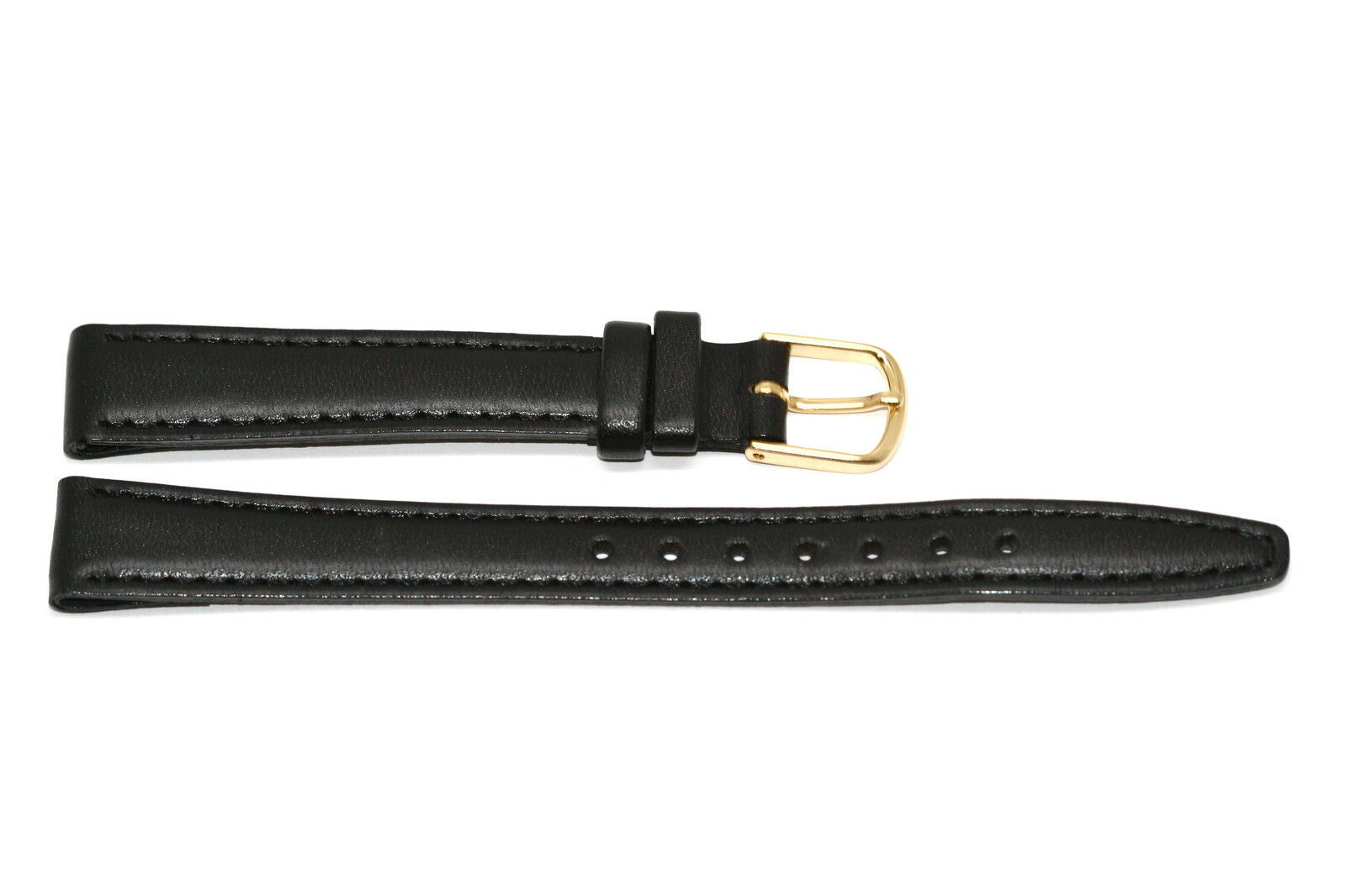 Primary image for TIMEX 12MM BLACK STITCHED CLIK-ON GENUINE LEATHER WATCH BAND STRAP