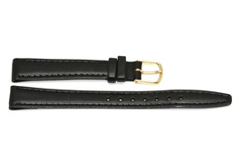 Timex 12MM Black Stitched CLIK-ON Genuine Leather Watch Band Strap - $4.94