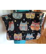 Laurel Burch Cat Faces Tapestry Satchel Black with Sequins Shoulder Bag ... - $19.99