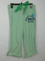 Pink Victoria's Secrets Pajama Pants Green Seersucker Rolled Cuffs Sz X-Small - $9.38