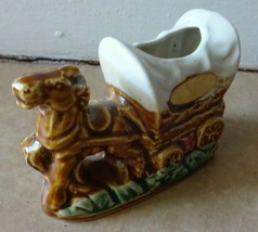 Vintage Ceramic Covered Wagon Toothpick Holder Horse & Chuck Wagon JAPAN - $5.45