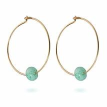 Natural Amazonite Bead 14K Gold Filled Hoop Dangle Earrings