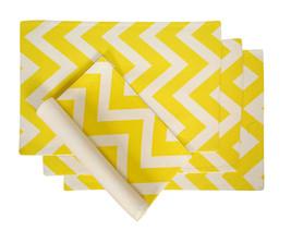 Cotton Placemats Chevron Stripes Yellow & White 4/pack - $15.79