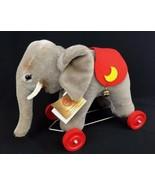 Vintage Hermann Original West Germany Mohair Elephant Wheels Pull Toy 31... - $74.76