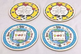 4 Cork Back Coasters It's A Dogs World & Man's ... - $9.80