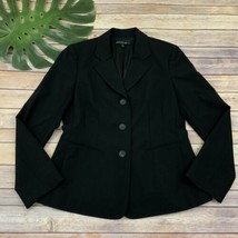 Lafayette 148 Womens Blazer Jacket Size 8 Solid Black Wool Blend Career ... - $44.54