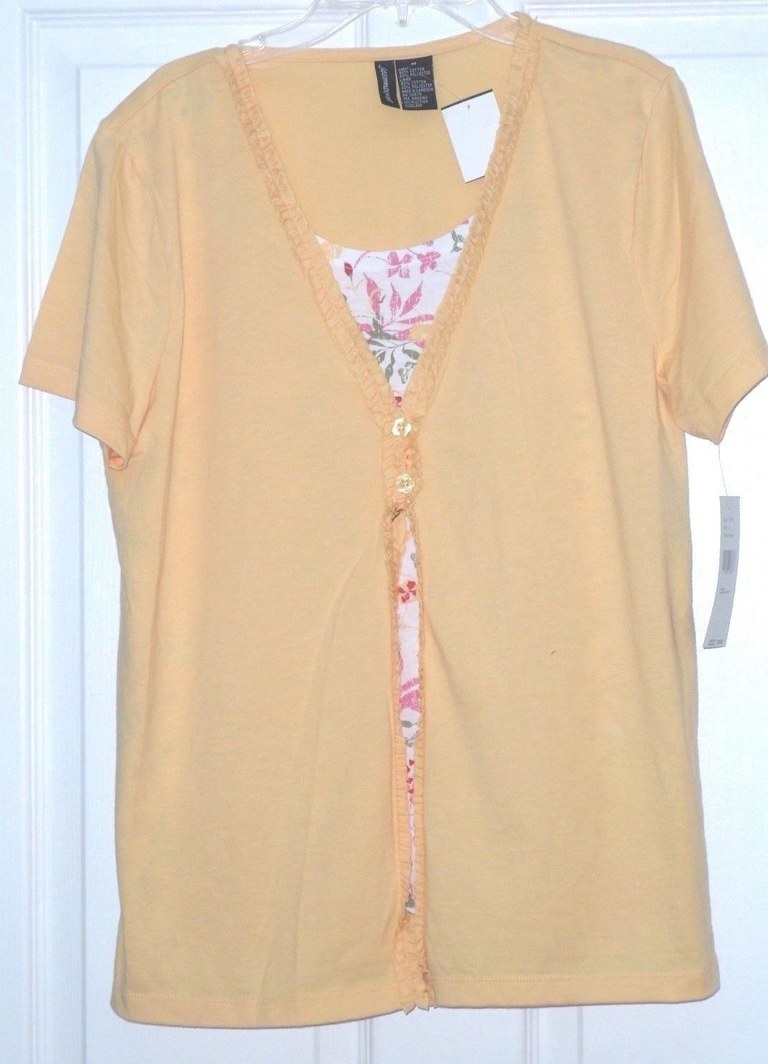 JASON MAXWELL KNIT TOP SHIRT SIZE S - M ROSE RED APRICOT YELLOW MSRP:$28.00 NWT