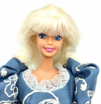 BARBIE Doll Platinum Blonde Hair & Bangs Winona Embroidered Blue Dress T... - $6.92