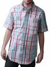 DGK Blanc Gris Rouge Vert à Carreaux Manche Courte BBQ Tissé Bouton T-Shirt Nwt