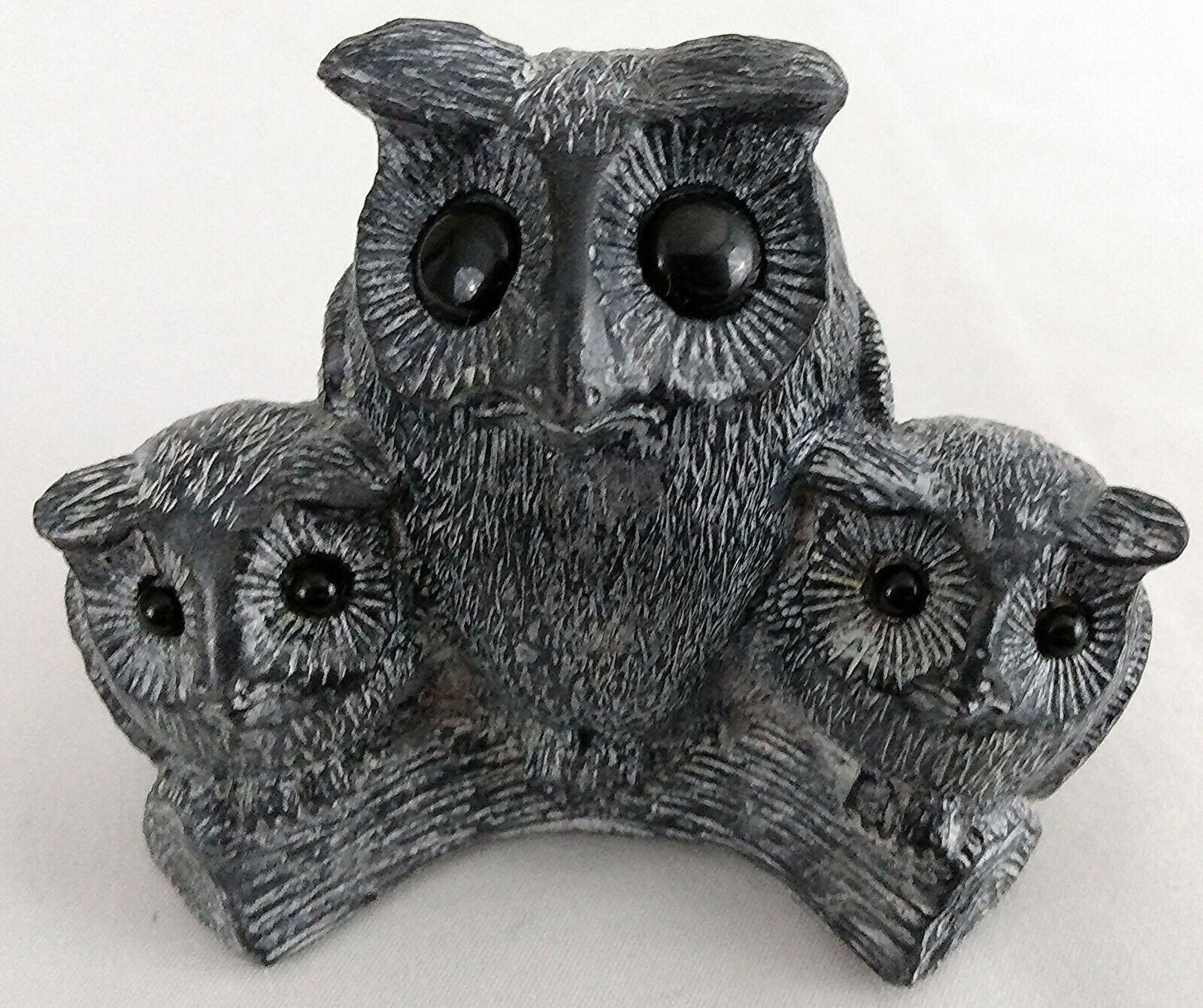 Primary image for Vintage Hand Made Cute Mother Owl and Owlets on Branch Figurine Wolf Sculpture