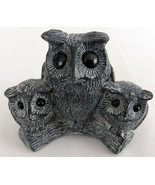 Vintage Hand Made Cute Mother Owl and Owlets on Branch Figurine Wolf Scu... - $23.70
