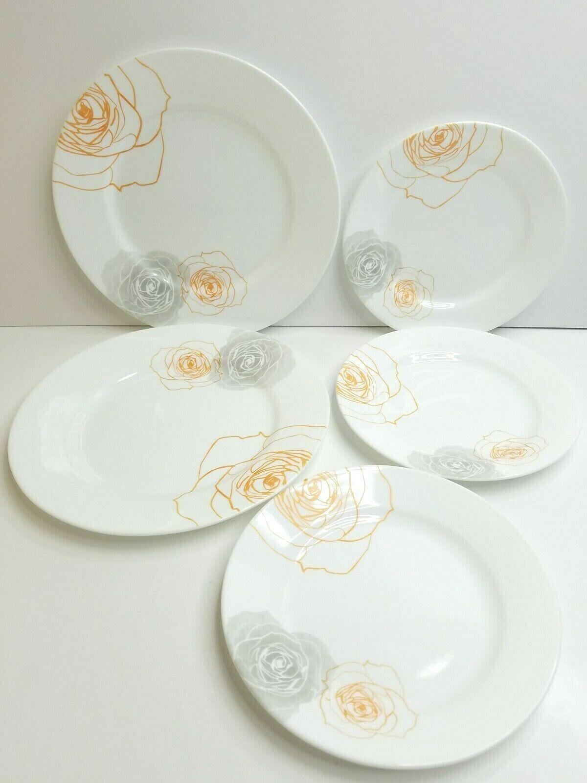 "Corelle Soleil Rose (2) 10 3/4"" Dinner (3) 8 1/2"" Salad Dessert Corning Plates - $67.88"