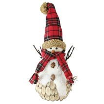 """Northlight 13.5"""" Holiday Moments Snowman Red Plaid Scarf Hat Christmas D... - $14.59"""