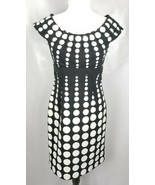 London Times Cap Sleeve Dress 6 Black White Dots Lined Fitted - $39.59