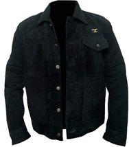Men Rip Wheeler Yellowstone Cowboy Cole Hauser Black Jacket Suede Leather/Cotton image 2