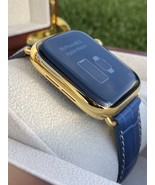24K Gold Plated 44MM Apple Watch SERIES 6 Stainless Steel Blue Band GPS ... - $1,329.05