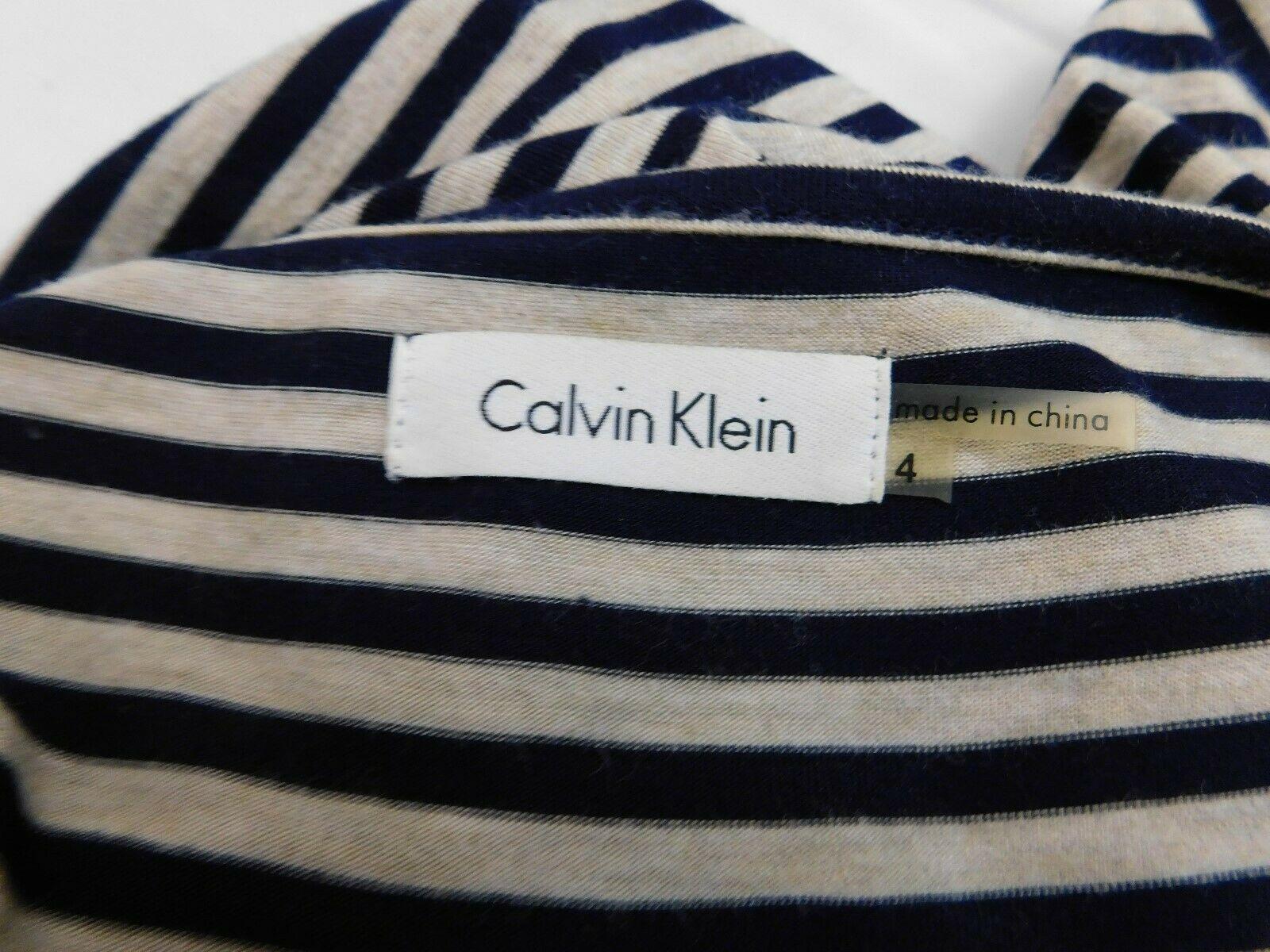 Calvin Klein Dress Size 4 Navy Blue Gray Striped Chevron 3/4 Sleeve