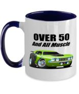 1971 Plymouth Cuda Over 50 Muscle Car CARtoons - 11 oz Blue Two-Tone Cof... - £13.80 GBP