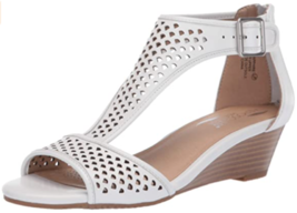 Aerosoles Sapphire Sz US 9 M EU 39.5 Women's Leather T-Strap Wedge Sandals White - $59.35