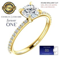 1.50 Carat Round Forever One Moissanite Ring in 14K Gold (Charles&Colvard) - $795.00