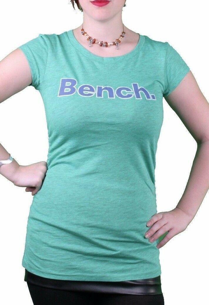 Bench Urbanwear Mujer Verde Heather Deckhand Logo Camiseta BLGA2358 Nwt