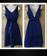 J Crew Dress with Sash Size 8P 8 Petite Cotton Navy Blue VGUC - $35.63