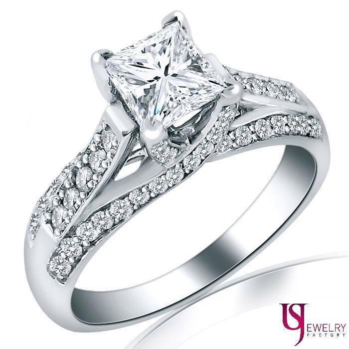2.20 (1.55) Carat Cathedral Set Princess Diamond Engagement Ring 14k White Gold - £5,434.40 GBP