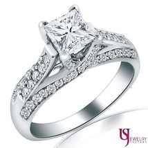 2.20 (1.55) Carat Cathedral Set Princess Diamond Engagement Ring 14k Whi... - €6.168,27 EUR