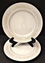 2 Sango Four Crown Sintra 340 Dinner Plates Flower Pattern Silver Rim Japan - $29.69
