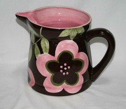 Laurie Gates Ceramic Brown with Pink Flowers 80 oz. Pitcher   #2342 - $58.00