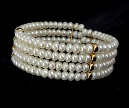 """Vintage 14k Yellow Gold 4 Strand Pearl Wire Beaded Cuff Bracelet 6"""" Adjustable - $179.99"""