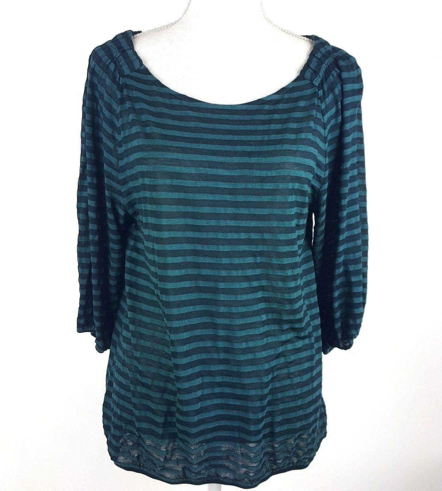 6a4b044c Ann Taylor Loft Women Sz Medium Green Stripe 3/4 Sleeve Sheer Blouse Rayon  Blend - $13.09