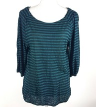 Ann Taylor Loft Women Sz Medium Green Stripe 3/4 Sleeve Sheer Blouse Ray... - $13.09