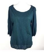 Ann Taylor Loft Women Sz Medium Green Stripe 3/4 Sleeve Sheer Blouse Ray... - $13.09