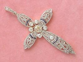 ANTIQUE ART DECO 1.38ctw DIAMOND SAPPHIRE PLATINUM STATEMENT CROSS PENDA... - $3,424.41