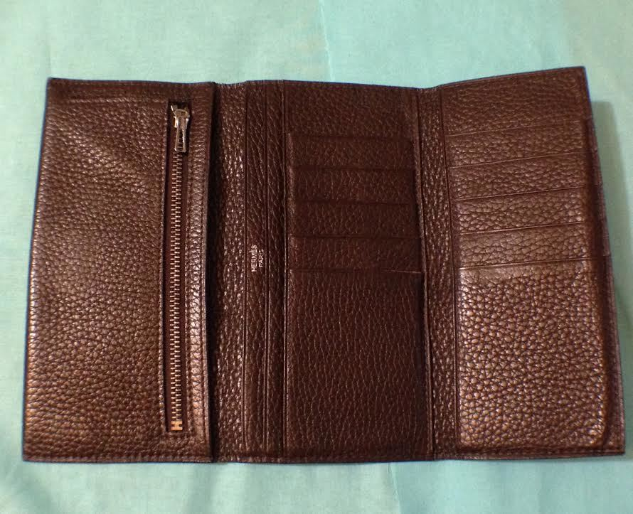Hermes Epson Leather Chocolate Trifold Wallet