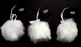 Lot 3 UGG Wren Christmas Tree Ornament White Holiday Fur Pompom Furry Ba... - $24.74