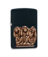 Non Metal Zippo Black Matte See No Evil, Hear Speak Evil Lighter (Length... - $37.51