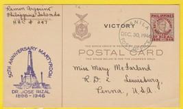 DR. JOSE RIZAL 50TH ANNIVERSARY VICTORY MANILA PHILIPPINES POSTCARD 1946 - $3.98
