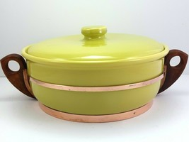 Bauer Monterey Moderne Chartreuse 2 Qt Casserole Covered Dish with Copper Stand - $41.52
