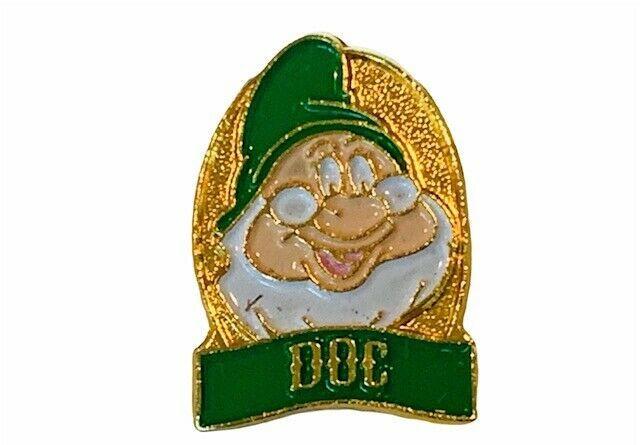 Walt Disney Pinback button pin Snow White Seven Dwarfs vtg gold limited Doc RARE - $14.46