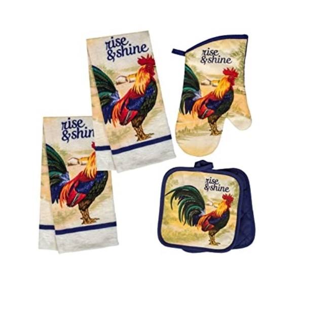 Primary image for Rooster Kitchen Set 5pc Rise & Shine Blue French Country Farm Towels Mitts