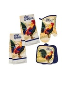 Rooster Kitchen Set 5pc Rise & Shine Blue French Country Farm Towels Mitts - $14.99