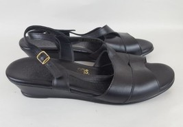 SAS sandal slingback open toe wedge black leather women's 12W - $37.39