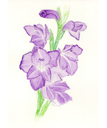"""Purple Gladiolus,"" an A. Rose Designs (tm) note card - $5.95+"