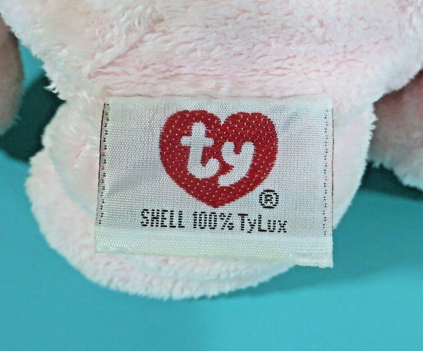 "Ty Pluffies Pinks Teddy Bear 9"" Plush Pink Peach Stuffed Animal Baby Lovey 2002 image 5"