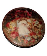 Victoria Graphics 1994 Vintage Santa With Girl Round Covered Collectible... - $8.00