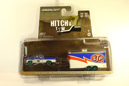 Green Light Green Machine 1970 Ford F100 + Enclosed Car Hauler Stp Racing Chase - $23.99