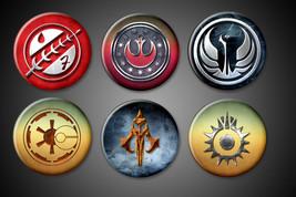 "Star Wars Symbols Magnets - 1"" inch - Jedi, Reb... - $9.99"